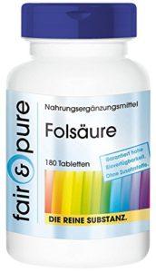 Acide folique 800µg 180 comprimés substance pure, sans additifs, végétarien