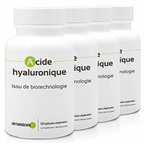 ACIDE HYALURONIQUE * PACK 3+1 GRATUIT * ISSU DE BIOTECHNOLOGIE * 100 mg / 480 gélules * Hydratation de la peau, rides, troubles articulaires, rhumatismes, sècheresse oculaire * Fabriqué en France