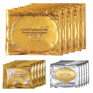 ALIVER 24k Gold Bio-Collagen Face Mask, Gold Powder Eye Mask and Gold Lip Mask (5 Sets / Package)