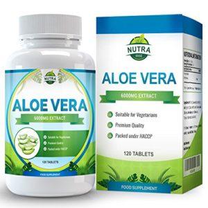 Aloe Vera, Complément à la Puissance Maximale pour la Perte de Poids, Nettoie en Douceur et Détoxifie votre Système Digestif, Guérit et Hydrate votre Peau, 6000mg, 120 comprimés
