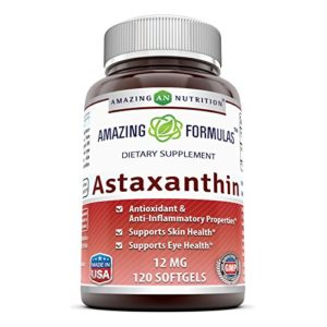 Amazing Formulas Astaxanthin Dietary Supplement – 12Mg – 120 Softgels – Promotes Healthy Skin & Eyes – Powerful Antioxidant – Anti-Inflammatory Properties*