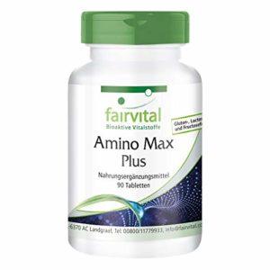 Amino Max Plus – 1 mois – végétarien – 90 comprimés – contient 13 acides aminés essentiels
