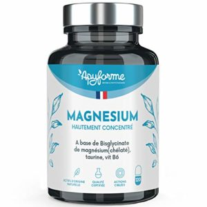 Apyforme – Magnésium – Magnésium végétal – Bisglycinate de Magnésium 1500 mg + vitamine B6-120 gélules végétales sans gluten, sans lactose, sans effet laxatif – Made in France