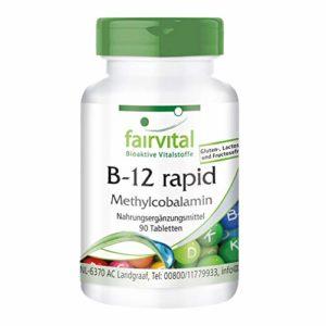 B-12 rapide que la méthylcobalamine – set pour pendant 3 mois – végan – 90 Comprimés – absorption rapide à travers la muqueuse buccale