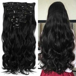 Beauté du Pays Imaginaire 55,9 cm 7 Lot de 16 pinces à clipser pour tête complète Extensions cheveux bouclés ondulés