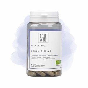 Belle&Bio – Relaxe Bio – 120 gélules – Anti stress – Certifié Bio par Ecocert – Aubépine, Passiflore, Lavande et Valeriane – Fabriqué en France