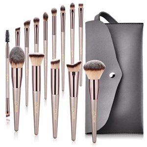 BESTOPE pinceaux maquillage kits 14pcs synthétique doux pochette en cuir PU brosse cosmétique ombre à paupière doré blush fondation