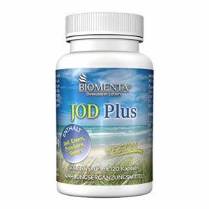 Biomenta Iode Plus – Iode dose élevée + Fer + Acide folique + Sélénium – 120 végétarien comprimés d'iode