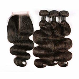 BLISSHAIR 8 inch Human Hair Weave Extensions Brésiliens Hair Perruque 3 Bundle trame + 1 closure