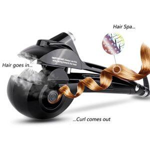 Boucleur à cheveux automatique chauffant, céramique et affichage numérique à LED (Noir)