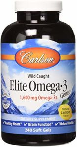 Carlson – Elite Omega-3 Gems Huile de Poisson Professional Strength Lemon 1250 mg – 240 Gélules