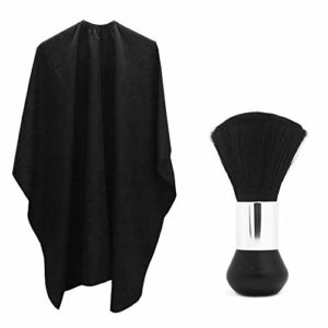 Cheveux Professionnel Salon Cape en nylon avec métal Fermeture réglable et cou Duster, Sourceton Poids léger Extra long Cape (152,4x 119,4cm) et du cou Duster Brosse, parfait pour barbier et salon
