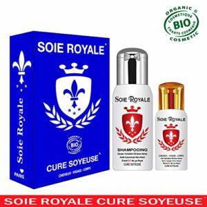 Coffret Soie Royale Cure Soyeuse 66 ml sans rinçage + Shampoing Régénèrent Bio 125 ml Cheveux Visage Corps Sans Alcool Divinement ROYALE et INOUBLIABLE.