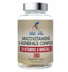 Complexe Multivitamines et Minéraux, 180 Comprimés Végétariens 6 Mois D'approvisionnement, 24 Suppléments Vitamines et Minéraux Essentiels par Rite-Flex