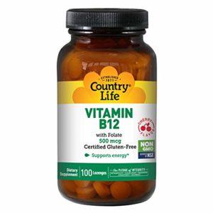 Country Life – Vitamine B12 à placer sous la langue 500 mcg – 100 Lozenges