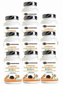 Curcuma Curcuma 1000mg Curcumine + Pipérine + Gingembre – Brûleur De Graisse | Capsules à forte dose extrait sec de curcuma titré à 95% et poivre noir titré à 95% Curcumine – biodisponibilité élevée | 10 paquets de 60 comprimés (total 600 comprimés)