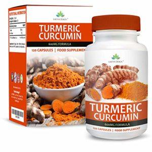 Curcuma Curcumine 600mg – Curcuma Pur Biologique Avec Piperine – Convient aux Végétariens – Augmente la Biodisponibilité – Pour Hommes et Femmes – 120 Capsules (4 Mois d'Approvisionnement) de Earths Design