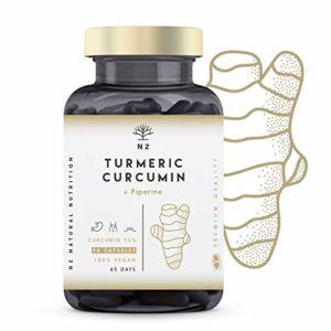 Curcuma Pipérine EXTRA FORT 95% de Curcumine et Poivre Noir. Optimale Absorption. Anti-inflammatoire- Antioxydant- -Detox | 90 Gélules -Végan Certifié-Fabriqué dans l'UE. N2 Natural Nutrition