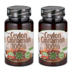 Cvetita Herbal,2 x Ceylon Cannelle x 160 gélules,Ceylon cinnamon,Antioxydant naturel puissant,Améliorer la digestion et le métabolisme,Réduire l'appétit et la perte de poids