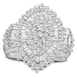 DazzlingRock Collection 10 carats Or blanc Round & Tapered IJ Diamant blanc