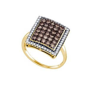 DazzlingRock Collection 10 carats Or Jaune I-J Marron Diamant Blanc
