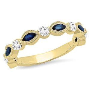DazzlingRock Collection 10 carats Or jaune Marquise Rond IJ Bleu Diamant blanc Bleu – Saphir