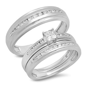 DazzlingRock Collection 14k Or Blanc Princess & Round I-J Diamant Blanc