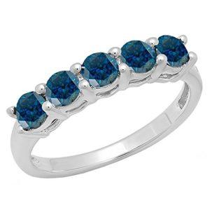 DazzlingRock Collection 14k Or Blanc Rond Bleu Bleu – Diamant
