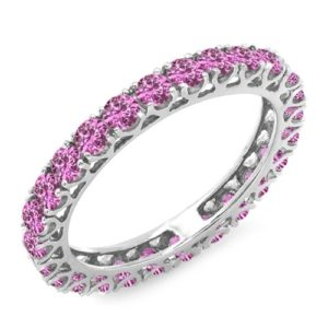 DazzlingRock Collection 14k Or Blanc Rond Rose Saphir Rose