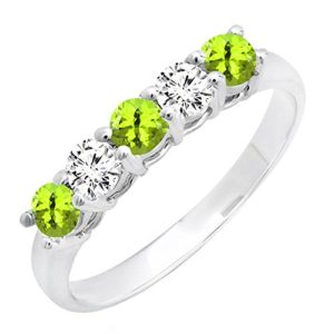 DazzlingRock Collection 14k Or Blanc Rond Vert Peridot
