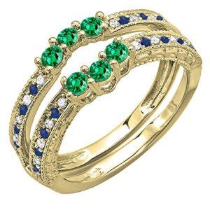 DazzlingRock Collection 14k Or Jaune Rond Bleu I-J Vert Diamant Blanc Bleu Saphir Smaragd