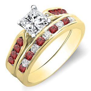 DazzlingRock Collection 14k Or Jaune Rond Round & Princess Rouge I-J Rubin Diamant Blanc