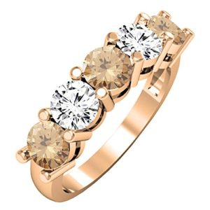 DazzlingRock Collection 14k Or Rose Rond Champagne Champagne/Diamant