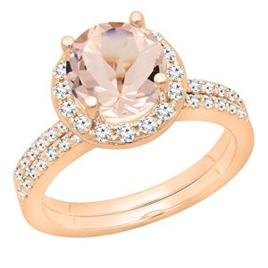 DazzlingRock Collection 14k Or Rose Rond Rose Morganit