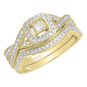 DazzlingRock Collection 18 carats Or jaune Rond IJ Diamant blanc