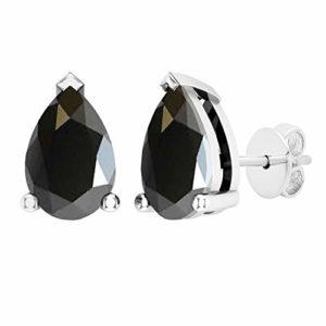 DazzlingRock Collection Femme Or Blanc 10K Ronde Saphir Bleu et Blanc Diamant 3 Swirl Pierre Halo nuptiaux Engagement (6,5)