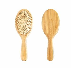 Depory Brosse à cheveux d'1 pièce – En bambou naturel et en bois anti statique – Coussin en forme de pagaie – Brosse de Massage.