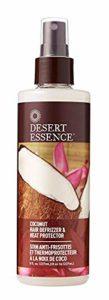 Desert Essence Soins cheveux – spray anti-frizz et protecteur de chaleur thermal à la noix de coco, 250 ml