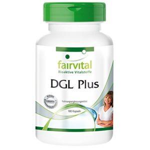 DGL Plus – 1 mois – végan – dosage élevé – 180 capsules – réglisse (bois de réglisse), guimauve, glaire d´orme et aloe vera