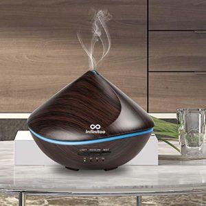 Diffuseur D'huiles Essentielles Electrique | Infinitoo 500ML Diffuseur Ultrasonique | Arrêt Automatique | 4 Réglable de Temps et 7-Couleur Changement, Parfait pour Maison