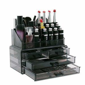 Display4top Organisateur Maquillage Acrylique Boîte à Bijoux Transparent Rangement de Maquillage Pinceaux 4 Tiers Tiroirs (Smoky Grey)