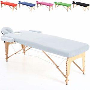 ENSAMBLE – Set Drap en Coton Housse DE Protection pour Table DE Massage 195 x 70 cm. ESTHETIQUE Pliante – Blanc