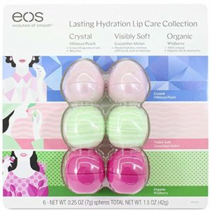 Eos Evolution of Smooth Lip Balm ~ Lasting Hydration Lip Care Collection 6-pack (Hibiscus Peach, Cucumber Melon, Wildberry)