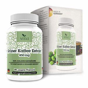 Extrait de café vert VITA1 450 mg • 90 capsules (fourniture mensuelle) • Extrait 10: 1 avec 18 acides aminés, potassium, calcium, magnésium et phosphore • Fabriqué en Allemagne