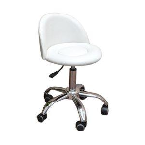 eyepower Tabouret de Travail MST-412 chaise pivotante 360° réglable en hauteur siège rembourré avec roulettes dossier | poids supporté 120 kg | idéal pour coiffeur esthéticien cabinet médical | blanc