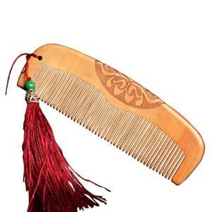 Fansi 1PC Peigne Demi-Lune en Acajou pour Un Massage frisé des Cheveux raides, détend Le Cuir chevelu, prévient Les nouages prévient la Chute des Cheveux et est Antistatique