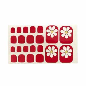 Fansi 22 Pcs/Set DIY Faux Toenails Pied Simple Coeur Fleur Motif Toe Autocollant Art Autocollant Faux Ongles Manucure Salon Décor