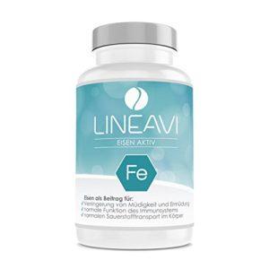 Fer actif LINEAVI | fer, vitamine C et vitamines B en capsule | favorise le système immunitaire et la formation du sang | fabriqué en Allemagne | 120 comprimés de fer véganes (pour 4 mois)