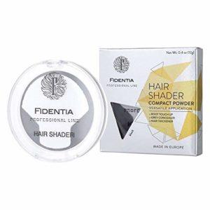 Fidentia Hair Shader poudre capillaire densifiante, correcteur de racine et de cheveux gris 12g, Noir – Black