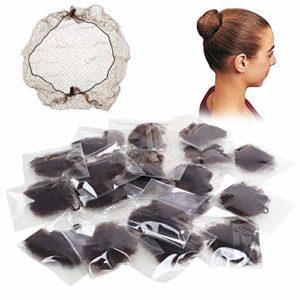 FJSM 20pcs Filet Chignon Filet Cheveux Élastique Invisible pour la Protection Perruque et Chignon Danse Classique, Nylon, Café